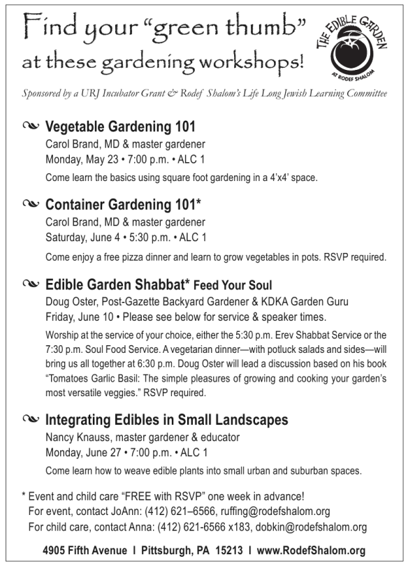 Edible Garden Workshops in Pittsburgh